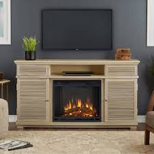 entertainment electric fireplace in weathered white