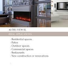 40 tru view xl 3 sided electric fireplace amantii electric fireplaces