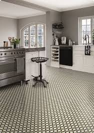 kitchen with victorian ceramic tile effect cushion vinyl sheet flooring