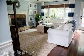 living room with jute chenille rug