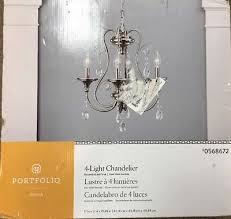 portfolio opula 4 light brushed nickel crystal chandelier