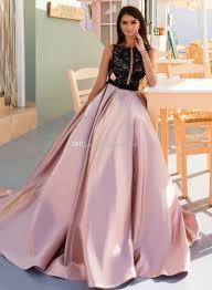 Lace Beaded Satin Evening Dresses 2017 Crystal Design Bateau