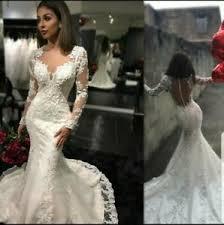 UK White Ivory Long Sleeve Beaded Lace Mermaid Sheer Back Wedding Dress Siz  6-18 | eBay