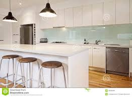 White Contemporary Kitchen With Island Stock Photo Image - White contemporary kitchen