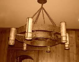 wagon wheel chandelier with mason jars