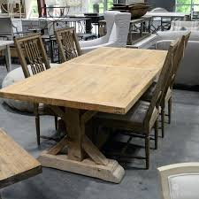 salvaged wood marble trestle round dining table rectangular extension reviews weathered concrete