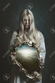 woman holding mirror. Modren Woman Stock Photo  Woman Holding Magical Mirror Imagination And Surreal On Holding Mirror O