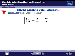 4 absolute value equations and inequalities algebra 2 lesson 1 5 solve check your answer 1 5