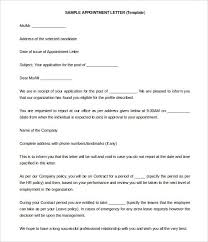 Samples Of Appointment Letter For An Employee Appointment Letter Templates Free Sample Example Format Form Cor