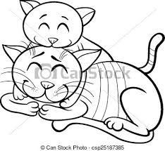 happy cat and kitten coloring book csp25187385