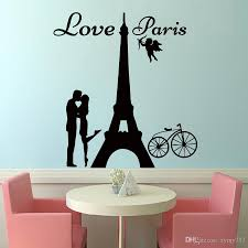 2017 hot angels love paris wall decals lover kissing and bike removable home decor wall art sticker diy sticker art for walls sticker decals for walls