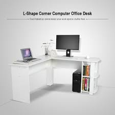 office l desk. Wood Corner Computer Desk Home Office L-Shaped Workstation Table With White UK L B