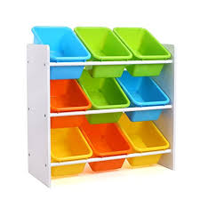 HOMFA Kid's Toy Storage Organizer with 9 Plastic Bins for Kids Bedroom  Playroom,White/