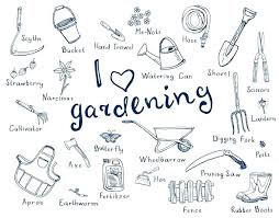 garden tools drawing with names zona