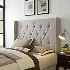 ivory tufted headboard. Simple Ivory Wingback Tufted Ivory QueenFull Size Upholstered Headboard With A