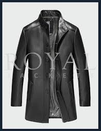 mens slim fit long leather coat