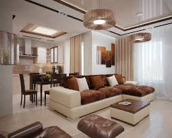 Living Room:Luxury Brown L Shaped Sofa In Leather Material With White  Accent In Contemporary
