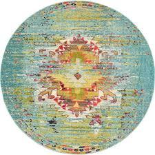unique loom arte turquoise 8 x 8 round rug