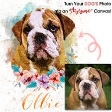 flower canvas wall art dog portraits