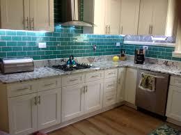 excellent green glass backsplash emerald subway tile kitchen