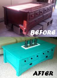 Bright Colored Coffee Tables Bright Turquoise Painted Coffee Table With Black Detailing
