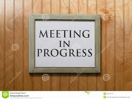 Meeting In Progress Sign Stock Image Image Of Problem 35972779