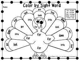 857d1fa545a4ac2660e49a21261aaad1 free color by sight word printables! thanksgiving worksheets on sight words handwriting worksheets