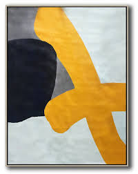 original extra large wall art vertical contemporary art modern canvas art yellow white black navy blue etc
