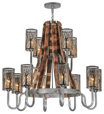 44 barrel stave winter maple 12 light two tier chandelier rustic chandeliers