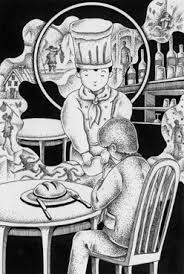 ペン画インクで描いたイラスト レストラン料理店コックシェフ