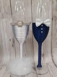 mr mrs glasses bride and groom wedding glasses champagne flutes blue white