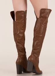 showcase faux leather thigh high boots chestnut
