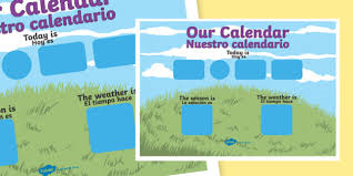 Spanish Date Chart Daily Weather Calendar Weather Chart Long Date Format