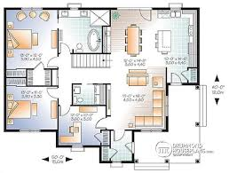 W3108V3  Country Style 2 To 3 Bedroom Bungalow With Home Office Country Style Open Floor Plans
