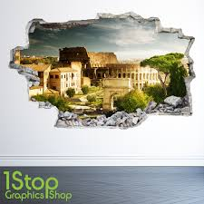 Rom Wandtattoo 3d Look Schlafzimmer Lounge Colosseum City Wall Decal Z30
