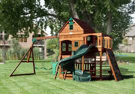 image of amazing wooden outdoor playset plans