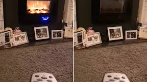 aldi customer posts bizarre showing her controlling her flame effect heater using a sky remote control