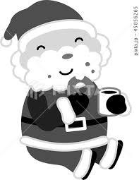 サンタクロース かわいい クリスマス 12月 白黒のイラスト素材 45856265