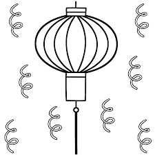 Small Picture Chinese Lantern with Streamers Coloring Page Chinese New Year