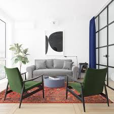 Round Bedroom Chair Colorful Sitting Area Sofa Oriental Rug Vibrant Gem Green Cavett