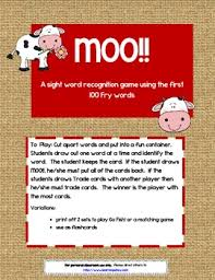 Words With Moo Moo First 100 Fry Words Sight Word Game By Learning Ahoy Tpt