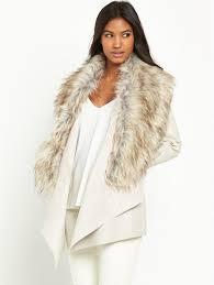 river island faux fur collar fallaway coat m6950