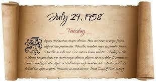 Image result for July 29, 1958,