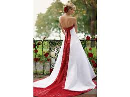 Davids Bridal Red And White Wedding Gown