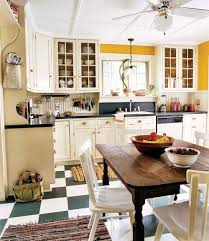 white kitchen windowed partition wall: a checkerboard linoleum floor graphically coordinates with the custom kitchen cabinets and countertop