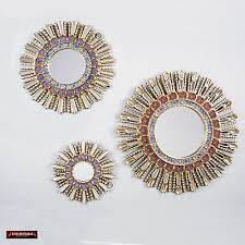 sunburst red wall mirrors set 3 pieces