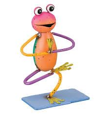 8 pink orange and yellow metal yoga