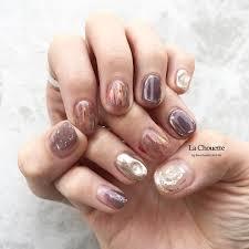 Purple Silver Lachouette Nail お洒落ネイル