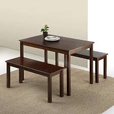 zinus espresso wood dining table with 2 benches 3 piece set