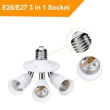 3 Way Light Socket Splitter Yblntek E26 E27 To E27 3 In 1 Light Socket Splitter Bulb